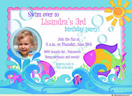 tropical dive 3rd birthday invitation pool party waves u0026 bubbles