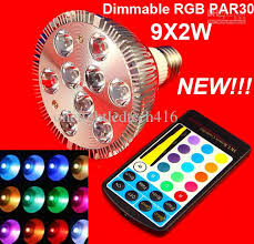 wholesale dimmable e27 18w 9x2w par30 led bulb lamp light rgb