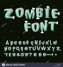 zombie font bones and brains living dead alphabet green