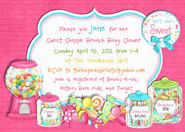 Sweet 16 Birthday Invitation Cards Candy Sweet Shoppe Baby Shower Invitation Sweet 16 Birthday