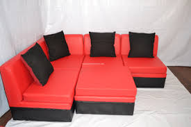 Sofa Bed Uratex Double Michelle L Shaped Sofa In Red Black