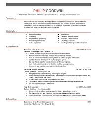 Information Technology Resume Skills Best Technical Project Manager Resume Example Livecareer