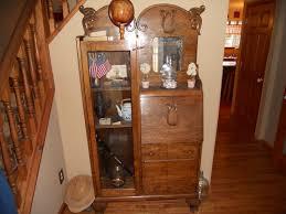 Drop Front Secretary Desk by Brown Wooden Drop Front Secretary Desk With Glass Door Case And