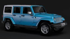 aqua jeep wrangler jeep wrangler unlimited chief jk 2017 3d model cgtrader
