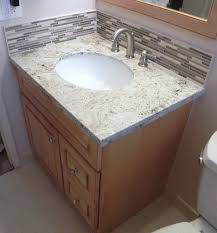 how to install vanity granite top stone glass backsplash u0026 schluter