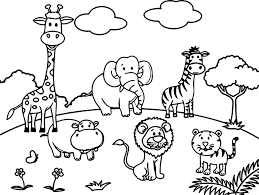 zoo scene coloring pages zoo animals coloring pages free