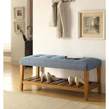 acme furniture charla light gray and oak storage bench 96680 the