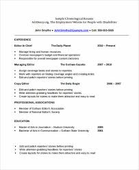 Resume Affiliations How To Write Chronological Resume Chronological Resume 9 Samples