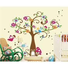 stickers arbre chambre enfant arbre aux fleurs colorées et petits lutins stickers muraux