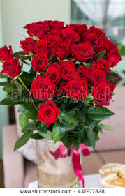 big bouquet of roses beautiful big bouquet roses vase standing stock photo 437977828