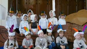 montessori kindergarten students present thanksgiving