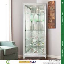 furniture glass corner curio cabinet ikea with 3 shelves for home