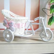 Rattan Vases Artificial Rattan Tricycle Bike Vases Flower Basket Vase Storage
