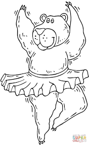 dancing bear coloring page free printable coloring pages