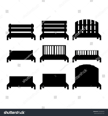 Urban Benches Set Benches Benches Black Silhouettes Bench Stock Vector 604238549