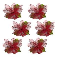 poinsettia clip on ornaments set of 6 tree shops andthat
