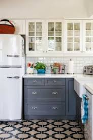 Two Color Kitchen Cabinets Kitchen White Kitchen Cabinet Grey Door Brown Tile Floor Ceramic