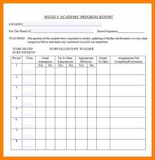 academic progress report template 7 weekly progress report template homed