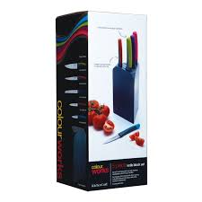 kitchen craft knives craft colourworks 5 multi coloured knife block set