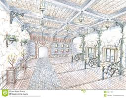 sketch of restaurant hall in style of city street stock