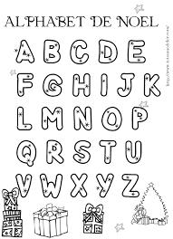 Alphabet de Noël à colorier  Grosses lettres étoiles à colorier