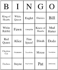 alice wonderland characters bingo cards