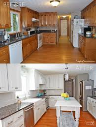 painting oak cabinets white before and after kitchen bright painted oak cabinets and dark