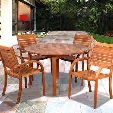 amazonia arizona 4 person eucalyptus patio dining set with stacking