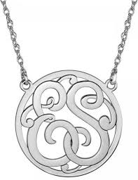 silver monogram necklace classic halo two initial monogram necklace be monogrammed