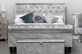 Velvet Sleigh Bed St Diamante Silver Crushed Velvet Chesterfield Sleigh Bed