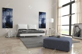 comfortable contemporary grey and white bedroom interior with