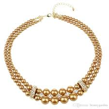3pcs lot fancy alloy layer pearls necklace