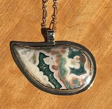sterling silver necklace pendants images Ocean jasper and sterling silver bezel set necklace pendant jpg