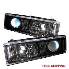 aftermarket lights for trucks halo projector headlights fits chevy silverado 88 98 led black