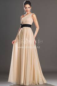 one shoulder champagne chiffon bridesmaid dress with black flower