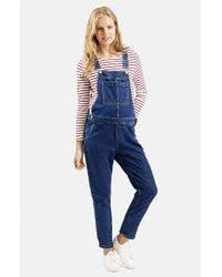 maternity dungarees lyst topshop denim maternity overalls in blue