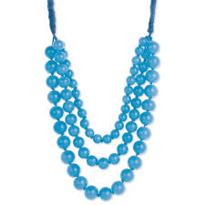 blue beads necklace images Sky blue 3 line round bead necklace jpg
