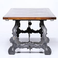 spanish style painted base and parquetry top dining table 19th
