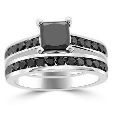 princess cut black engagement rings 2 25 carat princess cut black engagement ring set channel