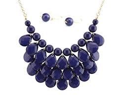navy jewelry bib statement necklace earrings jewelry set