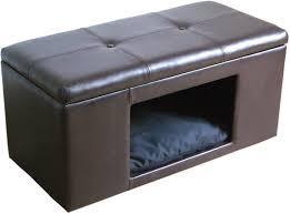 homepop comfy hidden pet bed ottoman bench cat dog house furniture