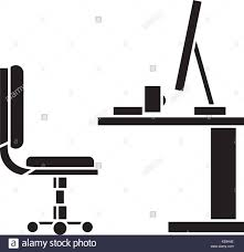 Office Desk Icon Table Office Desk With Computer Sideview Icon Vector