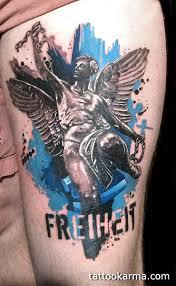 angel trash polka tattoo