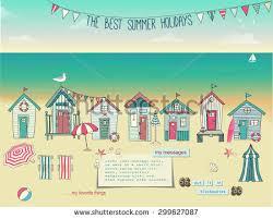 Summer Lounge Chairs Beach Huts Summer Poster Advertisement Seaside Stock Vector