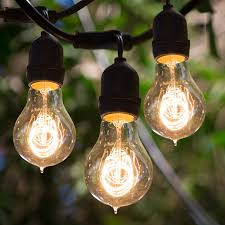 Edison Bulb Patio String Lights Bulbrite String15 E26 A19kt 48 Ft Outdoor String Light With
