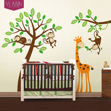 Giraffe Wall Decals For Nursery Tree Wall Decals Zoo Monkey Font B Giraffe B Font Sticker