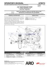 ingersoll rand water pumps aro 670074 user u0027s manual download free