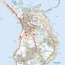 Dorset England Map by Legacy Trail 7 Around Portland Quarries Print Walk South