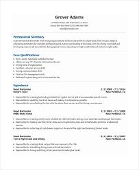 Customer Service Skills Resume Sample by Bartender Resume Template 6 Free Word Pdf Document Downloads