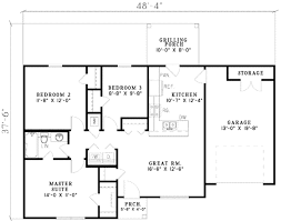 ranch style house plan 3 beds 1 00 baths 965 sq ft plan 17 580